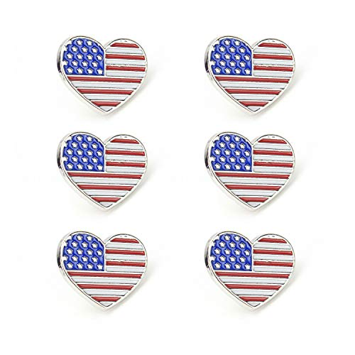 - HUILAIKE United States Flag Lapel Pin July Fireworks Festival Heart Enameled Brooch for Victory Celebrating 6 Pcs-Silver Plated