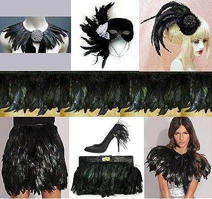 Frangia con piume di gallo nere per costumi fai da te, 45 cm AEQW-WER-AW130319
