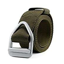 JasGood Men's Nylon Military Style Casual Army Outdoor Tactical Webbing Buckle Belt, Green