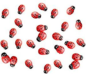 100pcs/pack Mini Wooden Ladybug Sponge Self-Adhesive Stickers Micro Landscape Decor for Scrapbooking Home Fairy Garden Dollhouse DIY (Red)