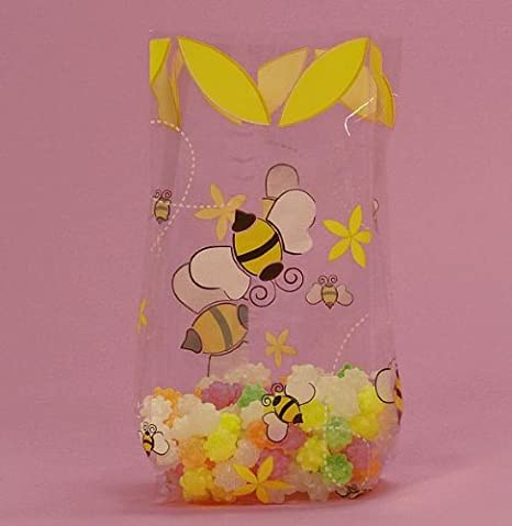 Bumblebee Printed Cello Goodie Bags - 20 Pack - 7.5in. x 3.5in. x 2in. by Generic