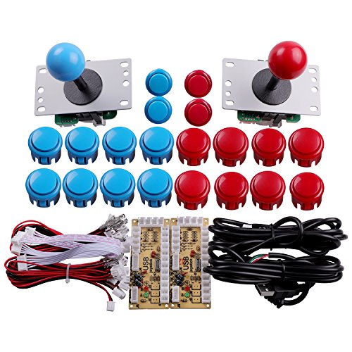 Easyget 2 Player Arcade Game DIY Parts USB Pc Joystick for Mame Game DIY (2x Zero Delay USB Encoder + 2 x 5pin 8 Way Joystick + 20x Push Button) Color Red + Blue Kits Support All Windows System
