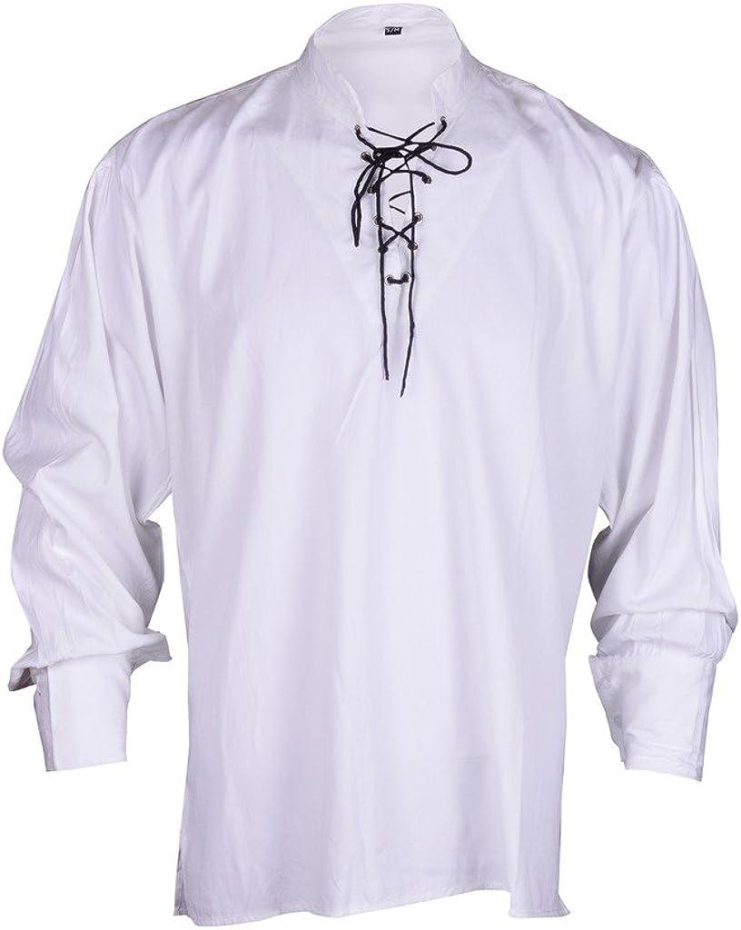 Bares - Camisa estilo pirata blanca para hombre, ideal para vestimenta informal de verano, talla L: Amazon.es: Ropa y accesorios