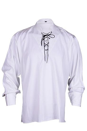 Renacimiento Ocasional de la Camisa del Verano del Pirata Blanco y Negro Colores Traje Medieval Hombres Todos los tamaños