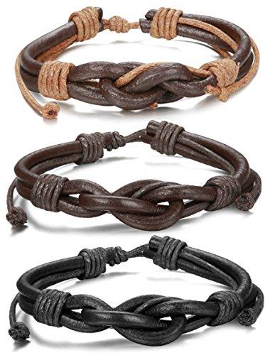 ORAZIO Leather Bracelet Braided Adjustable