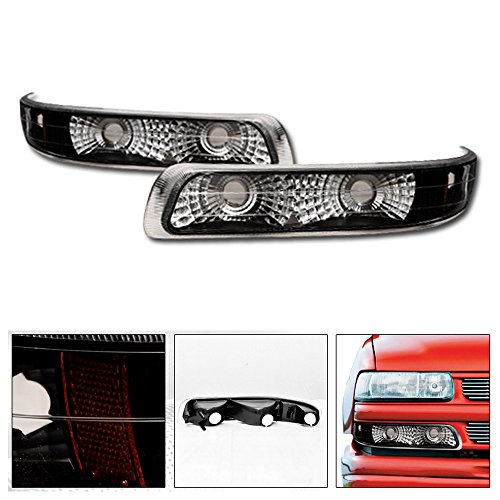 VXMOTOR for 1999-2002 Chevy Silverado/for 2000-2006 Chevy Suburban/Tahoe Euro Style Chrome Clear Black Parking Turn Signal Bumper Light Lamp DY
