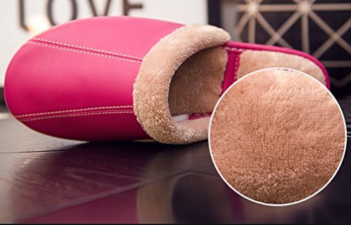 Cattior Womens Fur Lined Warm Indoor Outdoor Leather Slippers House Shoes Rose Red WQYCh