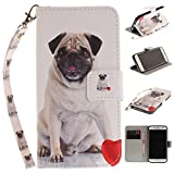 Misteem Case for Samsung Galaxy S7 Animal, Cartoon Anime Comic Leather Case Wallet with Bookstyle Magnetic Closure Card Slot Holder Flip Cover Shockproof Slim Creative Pattern Shell Protective Cover for Samsung Galaxy S7 [Dog Pug]