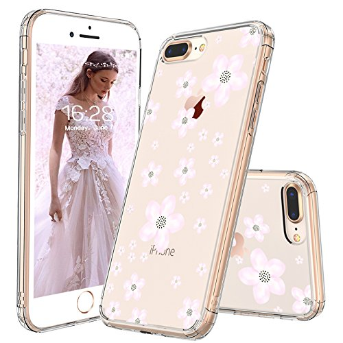Cherry Cell Phone Case - iPhone 8 Plus Case, iPhone 7 Plus Case, iPhone 7 Plus Clear Case, MOSNOVO Pink Cherry Blossom Floral Printed Flower Clear Design with TPU Bumper Cover for iPhone 7 Plus (2016) / iPhone 8 Plus (2017)