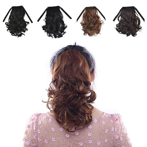 856store Comfortable Women's Fashion Wavy Curly False Ponytail Clip Hair Extension Hairpiece Wig - Black Brown