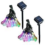 Jml Solar String Lights – Multi Color (30 LED, 2 Pack) Rain Drop Lights 20Ft Solar Waterproof Lights for Home Garden Patio Yard