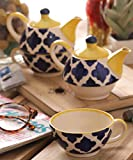 VarEesha Moroccan Blue Ceramic Cup with Kettle Set of Two/ Tea/ Coffee Cups