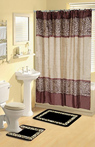 Elegant printed Bou5 Brown Leopard 17-Piece Bathroom Set With Bath Rugs Shower Curtain & Rings 2 Hand -