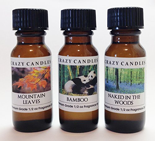 3 Bottles Set, 1 Mountain Leaves, 1 Bamboo, 1 Naked In The Woods 1/2 Fl Oz Each (15ml) Premium Grade Scented Fragrance Oils By Crazy (Balsam Fragrance Oil)
