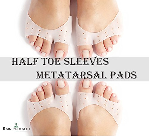 Metatarsal Pads - Bunion & Forefoot Cushioning - Half Toe Sleeve 2 Pieces Gel Pad Ball of Foot Cushions - Prevent Calluses and Blisters