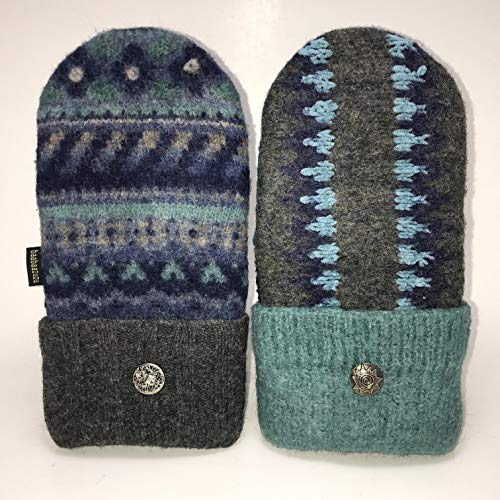 Baabaazuzu Teal, Blue & Gray Patterned Women's Upcycled Wool Sweater Mittens (Made in USA)