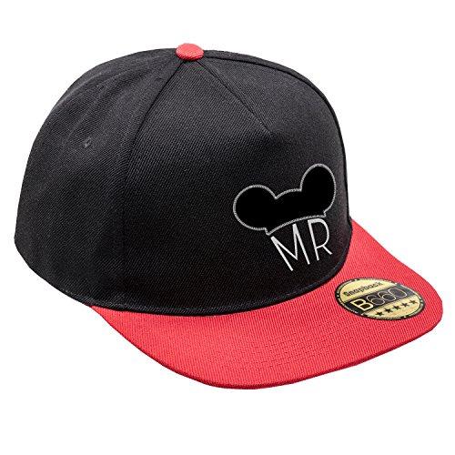 Red Unisex Cap Black Snapback Urbano y Ajustable Logotipo con Mr Plana Original Visera Gorra Bordado aYqEZA5x