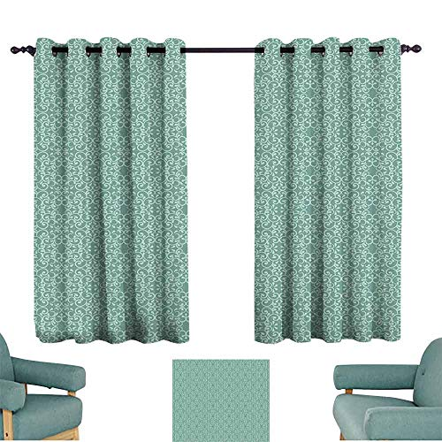 Mannwarehouse Green Printed Curtain Vintage Style Victorian Garden Pattern Antique Design Old Fashion Ornaments Suitable for Bedroom Living Room Study, etc.55 Wx63 L Turquoise Seafoam
