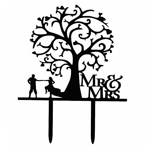 Ecape Sweet Wedding Cake Topper Mr and Mrs Dancing Couple Under the Love Tree Silhouette Acrylic Wedding Cake Topper