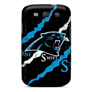 Rugged Skin Case Cover For Galaxy S3- Eco-friendly Packaging(carolina Panthers Logo)