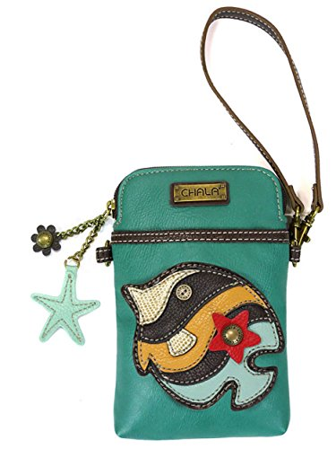 Chala Crossbody Cell Phone Purse - Women PU Leather Multicolor Handbag with Adjustable Strap - Fish - Turquoise