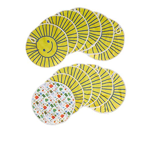 (Beekman 1802 Happy Place Sunny 12-Pack 8-Inch Reusable Microfiber Cleaning Mitts)