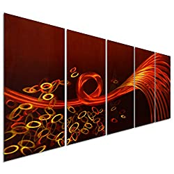 Pure Art Red Love Lines Sense - Large Orange Abstract Metal Wall Art Decor - Set of 5 Panels Sculpture for Kitchen or Bedroom - 64 x 24