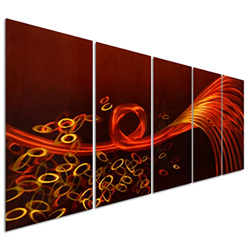 Pure Art Red Love Lines Sense - Large Orange Abstract Metal Wall Art Decor - Set of 5 Panels Sculpture for Kitchen or Bedroom - 64'' x 24'' by Pure Art