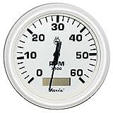 Faria Dress White 4'' Tachometer w/Hourmeter - 6,000 RPM (Gas - Inboard)
