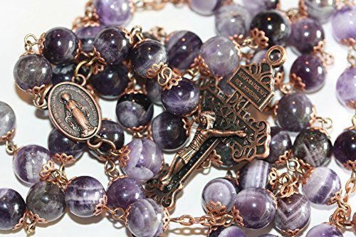 - 10mm Nonfaceted Chevron Amethyst and Copper 10mm 5 Decade Stone Bead Rosary with Pardon Crucifix Made in Oklahoma