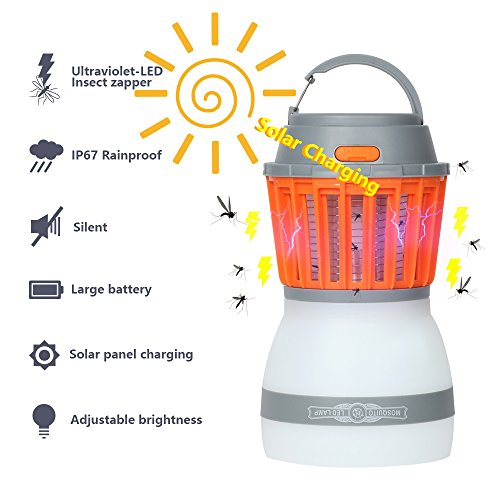 Insect Killer Ultraviolet with LED Light lamp 2 in 1, Youngist Rechargeable Mosquito and Fly bug zapper, Mini Portable with Handle and Waterproof, come with solar charging panel
