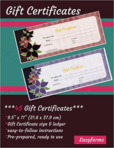 gift certificate book 45 pre prepared certificates ready made