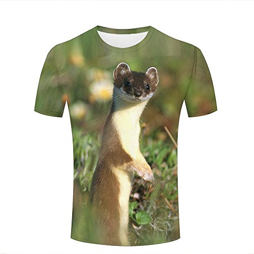 Mens T-Shirts 3D Printed Graphic Field - Cute Animals Short Sleeve Shirt Crew Neck Casual Couple Top Tees S