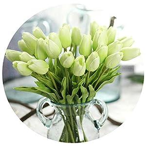 31pcs/lot Tulip Artificial Flower PU Bouquet Real Touch Flowers for Home Decor Accessories DIY Wedding Decoration Wreaths Decor,Light Green 21