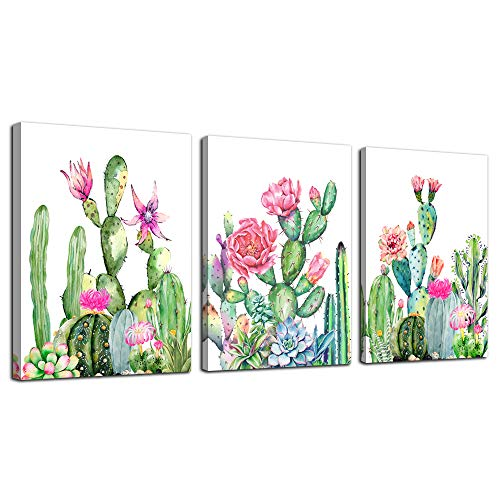 "Canvas Wall Art for living room bathroom Wall Decor for bedroom kitchen artwork Canvas Prints green cactus flowers painting 12"" x 16"" 3 Pieces Modern framed office Home decorations family picture"