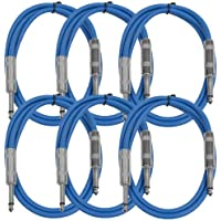 Seismic Audio SASTSX-3Blue-6PK 3-Feet TS 1/4-Inch Guitar, Instrument, or Patch Cable, Blue