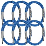 Seismic Audio - SASTSX-3 (6 Pack) - 3 Foot TS 1/4'' Guitar, Instrument, or Patch Cables Blue