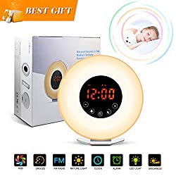 Wake Up Light Sunrise Alarm Clock with Sunrise/Sunset Simulation,Colorful LED Night Light,Touch Control, 6 Natural Sounds,FM Radio,Snooze Function,USB Charger,Cable Clips for Kids and Heavy Sleepers