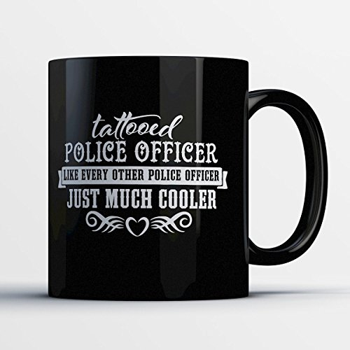 Police Coffee Mug - Tattooed Police Officer - Adorable 11 oz Black Ceramic Tea Cup - Cute Policemen Gifts with Police - Honolulu Sunglasses