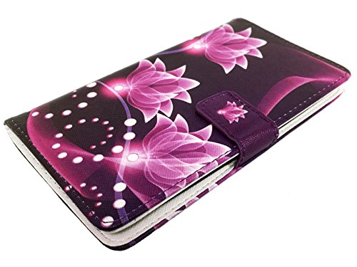 For LG G Stylo LS770 Stylus H631 MS631 Wallet Pouch Card Holder Phone Case + Happy Face Phone Dust Plug (Wallet Purple Lotus) -  PT