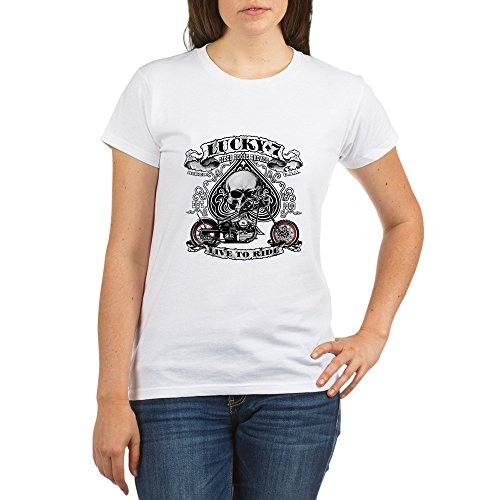 Royal Lion Organic Women's T-Shirt Lucky 7 Bikes Live To Ride Skull - ()