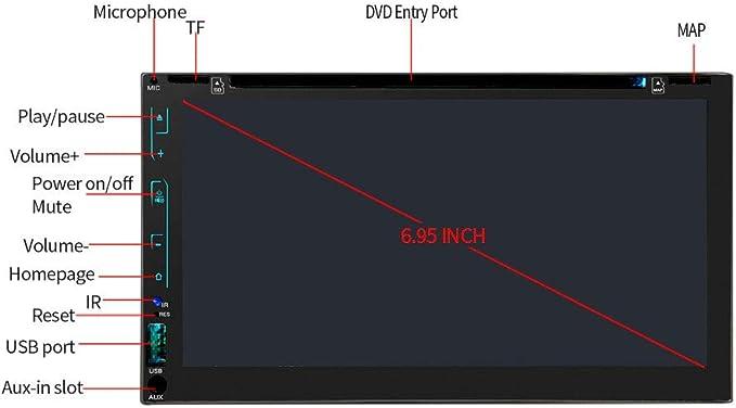 Unidad Principal Android Auto, Reproductor De DVD Estéreo Doble Din Car, 6.95 Pulgadas Soporte De Navegación GPS Para Automóvil Wifi CD DVD MP3 USB AM Radio FM Con Cámara De Visión Trasera