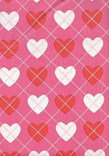 Happy Valentines Day Plaid Red White Hearts Pink Vinyl Tablecloth - 52in. x 70in.