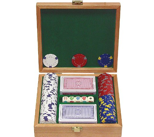 Trademark 100 13 Gm Pro Clay Casino Chips with beautiful Solid Oak Case Poker Chip Set (Pro Poker Set)