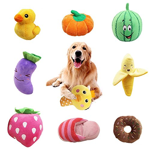 WSXUS Small Plush Dog Toys Set, Fruit and Vegetable Plush Squeaky Dog Toys, 9 Pack Chew Pet Toys for Puppies and Small Medium Pets...