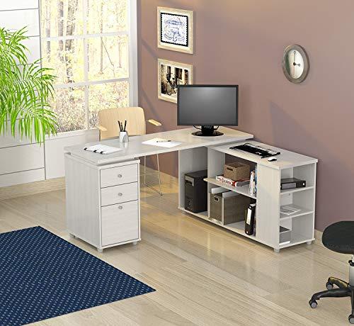 Inval America ET-3315 L Shaped Work Station Computer Desk, White (Inval L Shaped Desk)