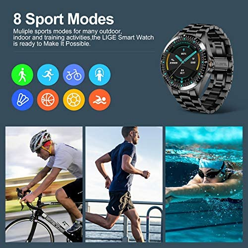 Smart Watch for Men Stylish, Fitness Trackers Waterproof with Heart Rate for Android iPhone, Sports Watch Bluetooth Call Answer Pedometer Stainless Steel 3