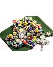Oklahoma Rosaries Easter Rosary Large Multi Color Millefiori and Silver 10mm 5 Decade