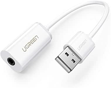 UGREEN USB External Sound Card Audio Adapter with 3.5mm Combo Aux Stereo Converter for Headset, Mac, PS4, PC, Laptop, Desktops, Windows, and Linux White