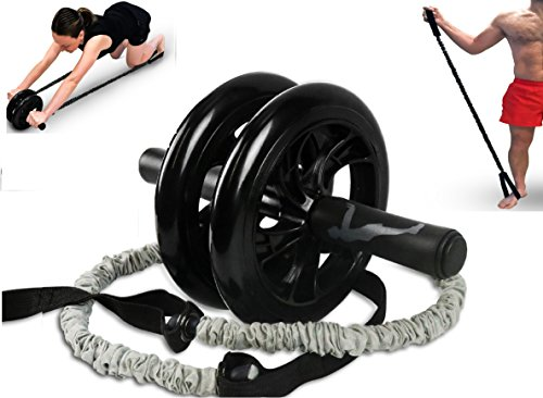 B-Max Sports Ab Roller Wheel Trainer-Resistance bands for advanced training-Double Wheel for great stability- Knee mat- Foot straps-BEST Core&Abs workout for home&outdoor – DiZiSports Store